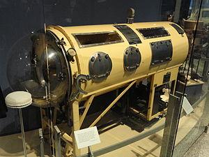 "Tank respirator (""iron lung"") used a..."